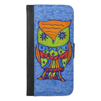 Bright Colors Whimsical Fantasy Owl Star eyes iPhone 6/6s Plus Wallet Case