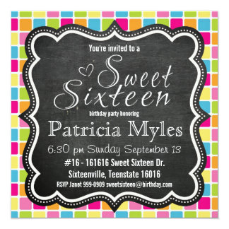 Bright Colors with Chalkboard Sign Sweet 16 Party Card
