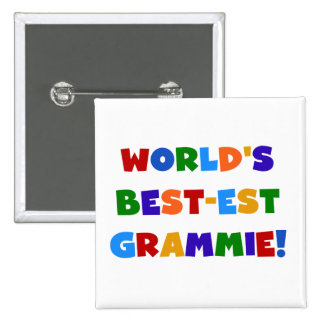 Bright Colors World's Best-est Grammie Gifts Pinback Button