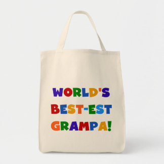 Bright Colors World's Best-est Grampa Gifts Grocery Tote Bag