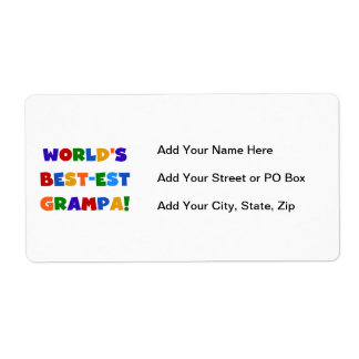 Bright Colors World's Best-est Grampa Gifts Label