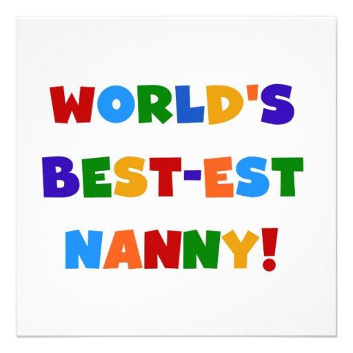 Bright Colors World's Best-est Nanny Gifts Custom Invite