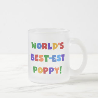 Bright Colors World's Best-est Poppy Gifts Frosted Glass Coffee Mug