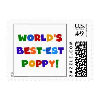 Bright Colors World's Best-est Poppy Gifts Stamps