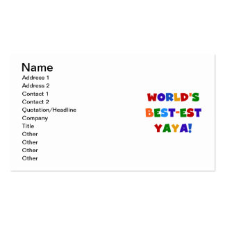 Bright Colors World's Best-est Yaya Gifts Business Card Templates