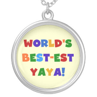 Bright Colors World's Best-est Yaya Gifts Round Pendant Necklace