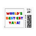 Bright Colors World's Best-est Yaya Gifts Postage Stamp
