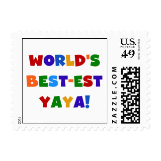 Bright Colors World's Best-est Yaya Gifts Postage Stamps