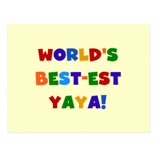 Bright Colors World's Best-est Yaya Gifts Postcard
