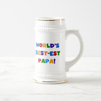 Bright Colors World's Best Papa Tshirts and Gifts 18 Oz Beer Stein