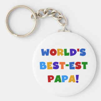 Bright Colors World's Best Papa Tshirts and Gifts Basic Round Button Keychain
