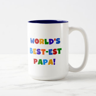 Bright Colors World's Best Papa Tshirts and Gifts Two-Tone Coffee Mug