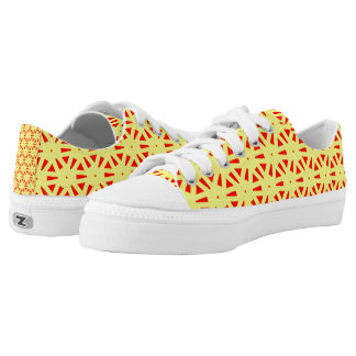 Bright Colors Yellow and Red Suns Abstract Pattern Low-Top Sneakers