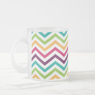 Bright Colors Zigzag Pattern Frosted Glass Coffee Mug