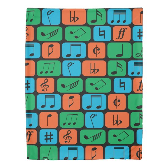 Bright colour Musical Notes Duvet Cover