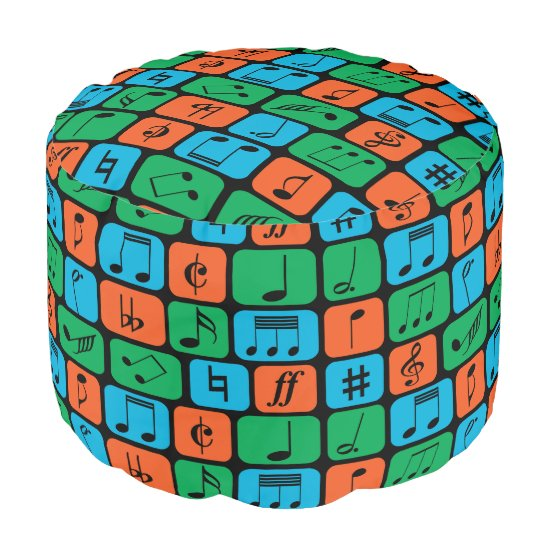 Bright colour Musical Notes Pouf