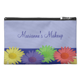 Bright Coloured Daisies on a Blue Background Travel Accessory Bag