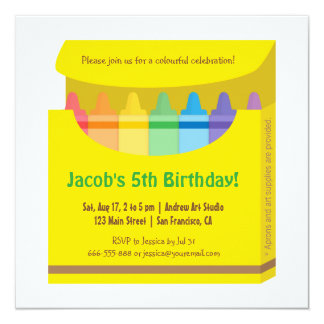 Bright Colourful Crayons Arts Kids Birthday Party 5.25x5.25 Square Paper Invitation Card