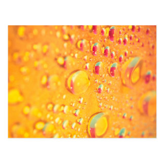bright colourful water droplet design postcard