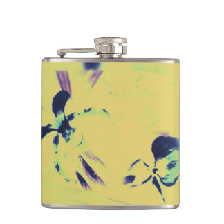 Bright Contemporary Abstract Purple, Blue on Yello Hip Flask
