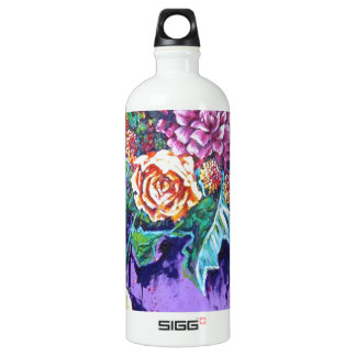 bright contemporary purple floral aluminum water bottle