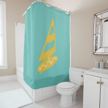 Beach Themed Bright Cool Surfer Shower Curtain
