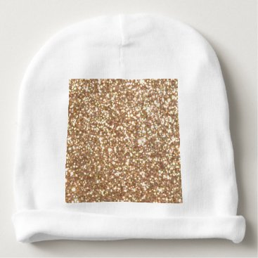 Beach Themed Bright Copper Glitter Sparkles Baby Beanie
