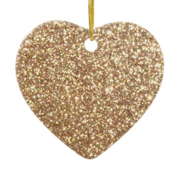 Aqua Bright Copper Glitter Sparkles Ceramic Ornament