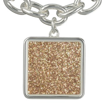 Beach Themed Bright Copper Glitter Sparkles Charm Bracelets