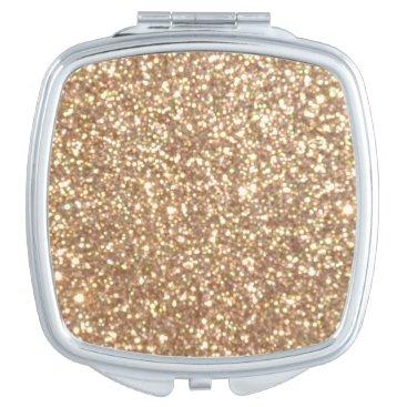 Beach Themed Bright Copper Glitter Sparkles Compact Mirror
