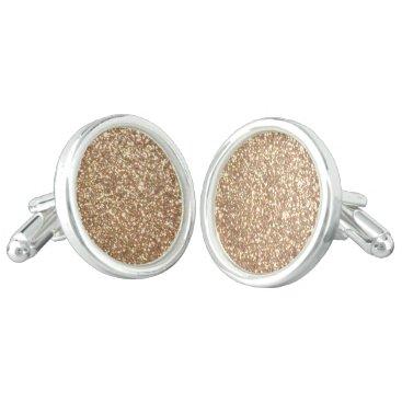 Beach Themed Bright Copper Glitter Sparkles Cufflinks