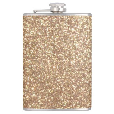 Beach Themed Bright Copper Glitter Sparkles Hip Flask