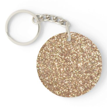 Beach Themed Bright Copper Glitter Sparkles Keychain