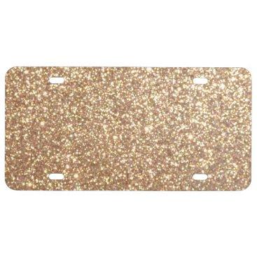 Beach Themed Bright Copper Glitter Sparkles License Plate