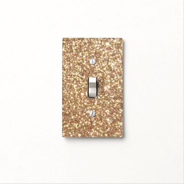 Beach Themed Bright Copper Glitter Sparkles Light Switch Cover