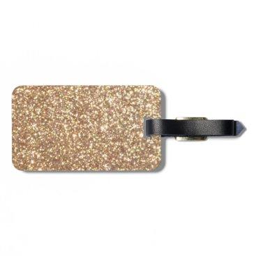 Beach Themed Bright Copper Glitter Sparkles Luggage Tag