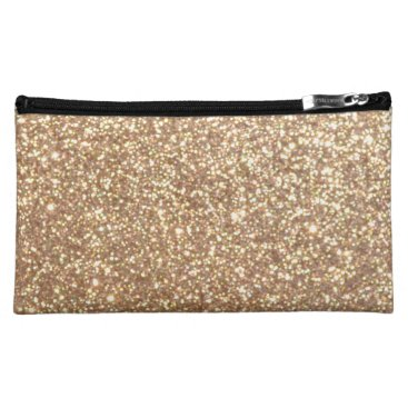 Valentines Themed Bright Copper Glitter Sparkles Makeup Bag