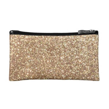 Beach Themed Bright Copper Glitter Sparkles Makeup Bag