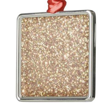 Beach Themed Bright Copper Glitter Sparkles Metal Ornament