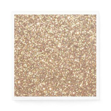 Christmas Themed Bright Copper Glitter Sparkles Napkin