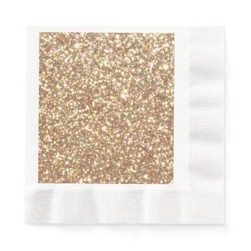 Beach Themed Bright Copper Glitter Sparkles Napkin