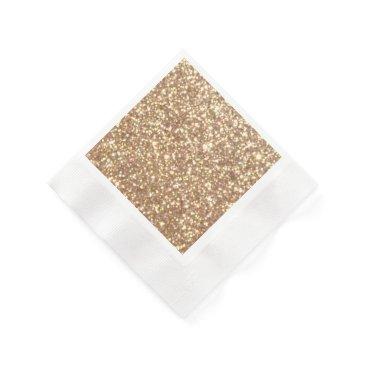 Beach Themed Bright Copper Glitter Sparkles Paper Napkin