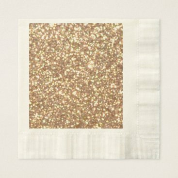 Beach Themed Bright Copper Glitter Sparkles Paper Napkin