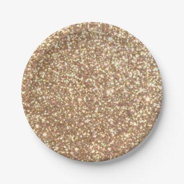 Beach Themed Bright Copper Glitter Sparkles Paper Plate