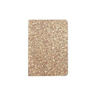 Beach Themed Bright Copper Glitter Sparkles Passport Holder
