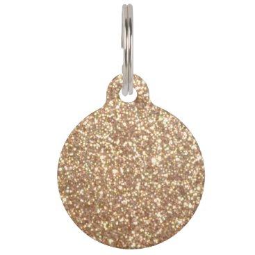 Beach Themed Bright Copper Glitter Sparkles Pet Name Tag