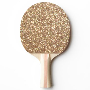 Beach Themed Bright Copper Glitter Sparkles Ping Pong Paddle
