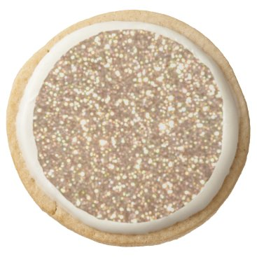 Beach Themed Bright Copper Glitter Sparkles Round Shortbread Cookie