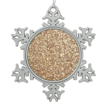 Beach Themed Bright Copper Glitter Sparkles Snowflake Pewter Christmas Ornament