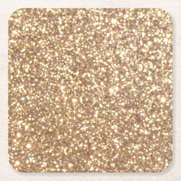 Beach Themed Bright Copper Glitter Sparkles Square Paper Coaster
